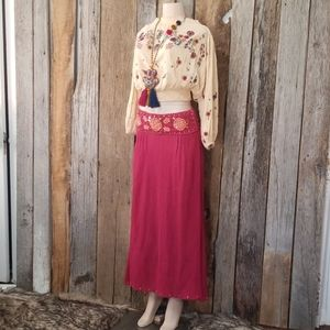 FREE PEOPLE EMBROIDERED & BEADED MAXI SKIRT!